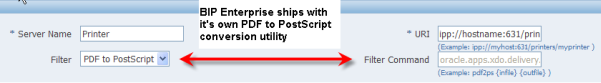 BI Publisher Enterprise Converting PDF to PostScript