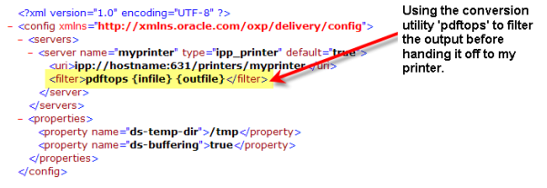 BI Publisher xdodelivery.cfg file with PDF to PostScript Filter