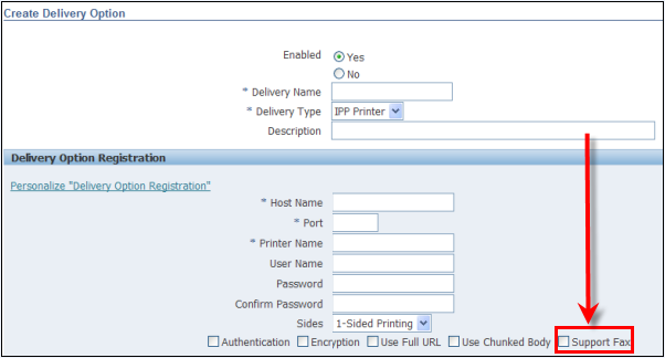 Oracle EBS 12.1.3 RUP3 Delivery Options Form Fax Setup/Configuration