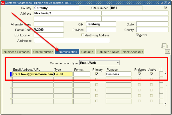 Customer Communication Form - Oracle EBS