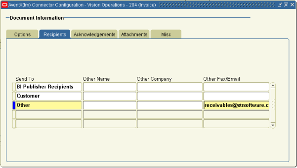 AventX Oracle Connector Configuration Form - Recipients