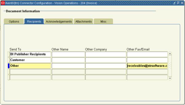 AventX Oracle Connector Configuration Form - Recipients