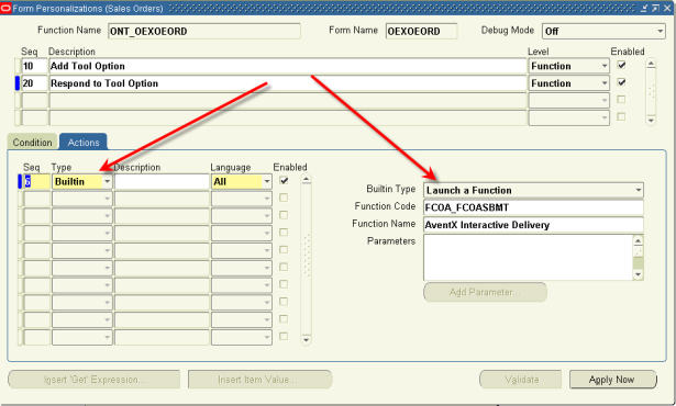 Forms Personalization: Launch a Function